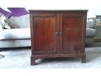 Antique mahogany low two-drawer cupboard