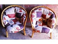 Pair of Wicker Garden Room Conservatory Chairs