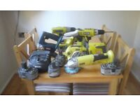 Collection of Ryobi 18 volt Power tools