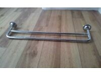 chrome double towel rail. Approx 2 feet wide