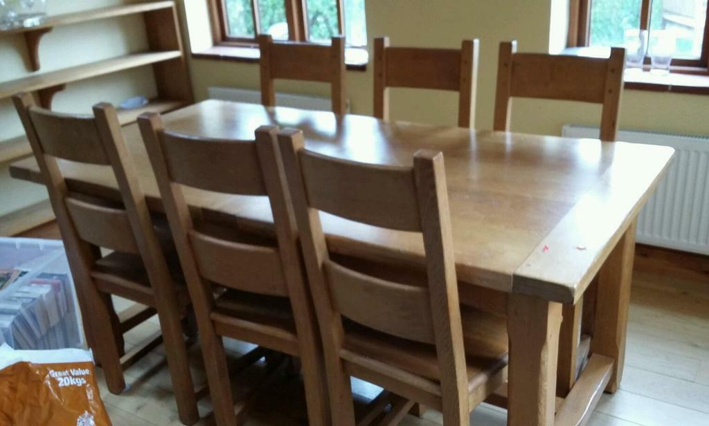 Mark Elliott Solid Bespoke Oak Extending Dining Table 6 Chairs Delivery Available