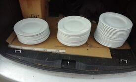 47 restaurant quality dinner plates. (churchill and porland)