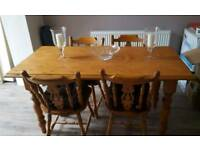 Solid pine dining room table and chairs
