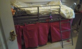 Metal frame mid sleeper bed. only two years of use.