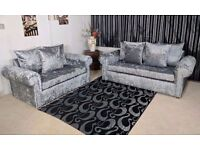 UK EXPRESS DELIVERY | GLP CRUSHED VELVET SILVER CORNER OR 3+2 SOFA + FREE FOOTSTOOL |1 YEAR WARRANTY