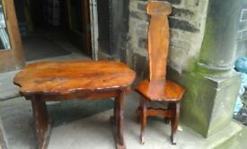 Hand made table and chair