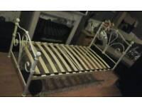 Cream metal single bed feel free to contact me