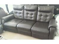 3 seater leather + 1 seater arm chair; electric recline