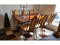 Barker and Stonehouse solid wood and metal dining table and 6 matching chairs