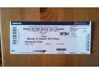 1x Circle Ticket JOHN CARPENTER HALLOWEEN CONCERT AT TROXY London Monday 31/10/2016