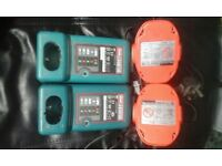 Makita chargers and batteries 18v 1.3 Ah £45