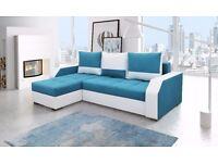Brand New Modern Fabric ARIS CORNER SOFA BED Left right hand side with sleeping and storage