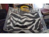 PLASTIC ZEBRA BAG HANDBAG SET OF TWO CAN BE USED SEPERATELY