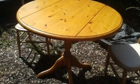 Pine Dining Table and two chairs