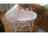 As new Mamas and Papas rocking moses basket with new sheets and spare travel stand
