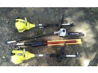 Ryobi petrol long reach hedge cutter and ryobi long reach chain saw