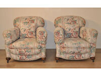 Attractive Pair Of Two 2 Vintage Upholstered Fireside Cottage Armchairs Chairs