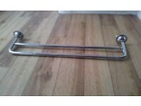 chrome double towel rail. Approx 2 feet wide