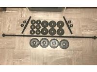 New - Cast Iron 25kg 1 Inch Weights Barbell & Dumbbells Bars Set (4x 2.5kg, 6x 1.25kg and 6x 0.5kg)
