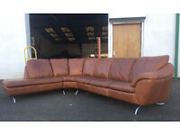 Nattuzi tan leather corner sofa DELIVERY AVAILABLE