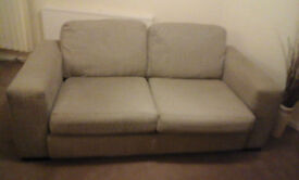 Two seater sofa, king size bed, bookcase and coffee table for sale. Must collect