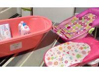 Baby bath, bath seats and toiletries