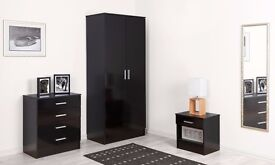 *SALE NOW ON* New High Gloss Black Solid Wood Bedroom Set - Wardrobe -4 Drawer Chest - Bedside Table