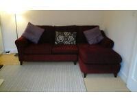 3 seater corner sofa/settee - dark purple/aubergine