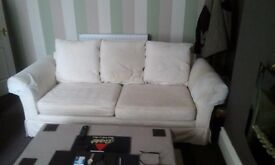comfy 3 seater settee , cream fabric