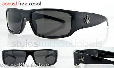 Marijuana Leaf Sunglasses Loc Wrap Style Dark Smoke Lens Eyewear OG Eazy E Biker