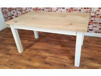 Full Stave Rustic Chunky Oak Dining Kitchen Table Any Size Any Colour Natural Farmhouse Finish