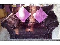 Memphis Black Crushed Velvet 2 + 3 Seater sofas