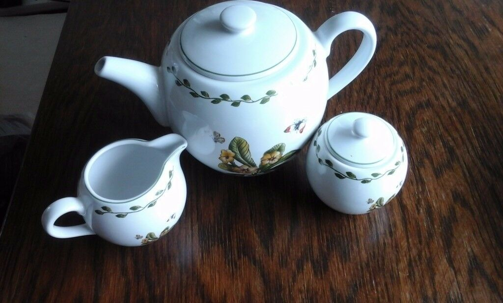 3 piece teapot set - sugar bowl, milk jug and 4 butterfly mugs