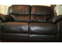 Brand new! 2 seater reclining sofa. Dark brown leather