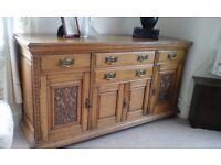 Edwardian solid light oak sideboard
