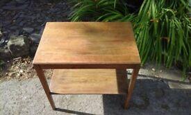 Solid oak 1950s side table