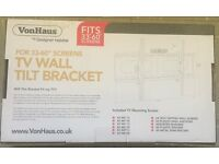 "New (in box) VonHaus TV Wall Tilt Bracket - Fits 33"" - 60"" Screens"