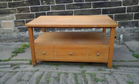 NEXT solid wood coffee table (good quality) with magazine storage and partitioned drawer