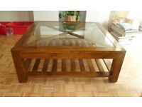 Coffee Table made from solid wood with glass top