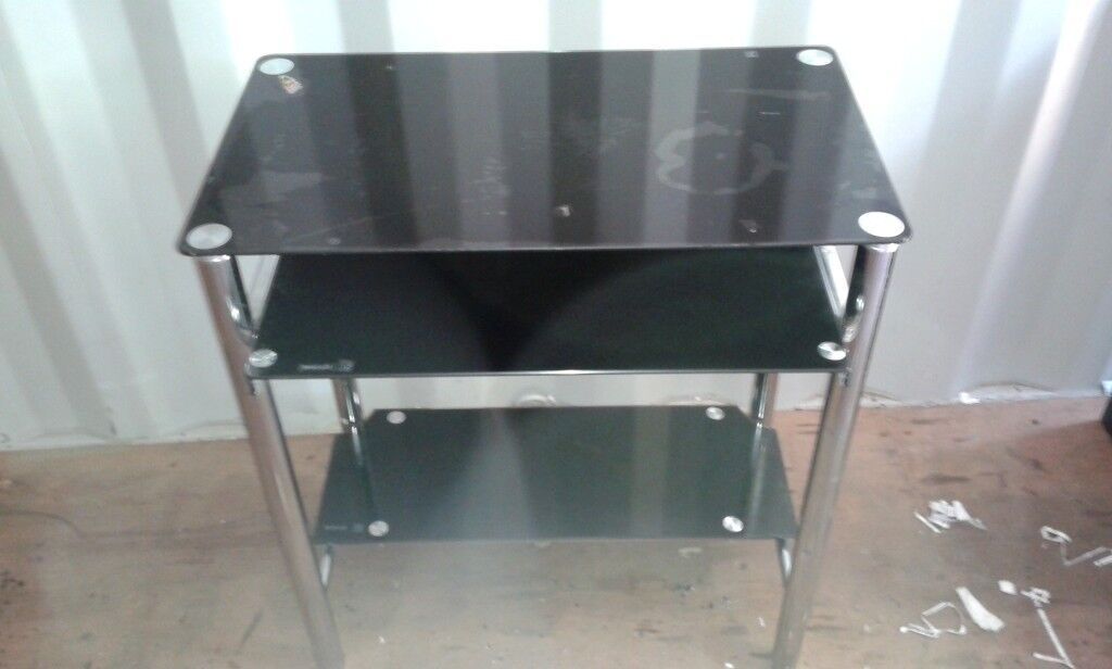 Black Glass PC Desk/Workstation with retractable keyboard shelf - Good Condition