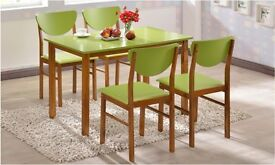 Valencia Dining Table and Chairs Green/oak