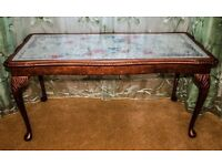 Wooden Golden Table with glass top