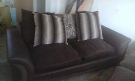 X2 3seater brown sofas