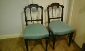 2 Victorian chairs for hall, dining, bedroom. Possible shabby chic project?
