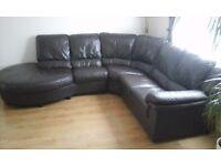 Black/brown leather corner sofa