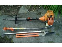 Petrol long reach hedge cutter and strimmer