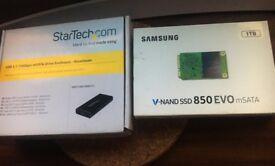 Samsung 850 Evo 1TB SSD mSata with Startech external enclosure USB 3.1