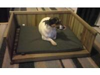 Traditional Wooden Brand New Dog Box Bed Suitable for small and medium Dogs - Soft Cushion Included