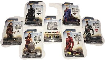 Hot Wheels Justice League Movie Full Set of 7 diecast character cars 2017