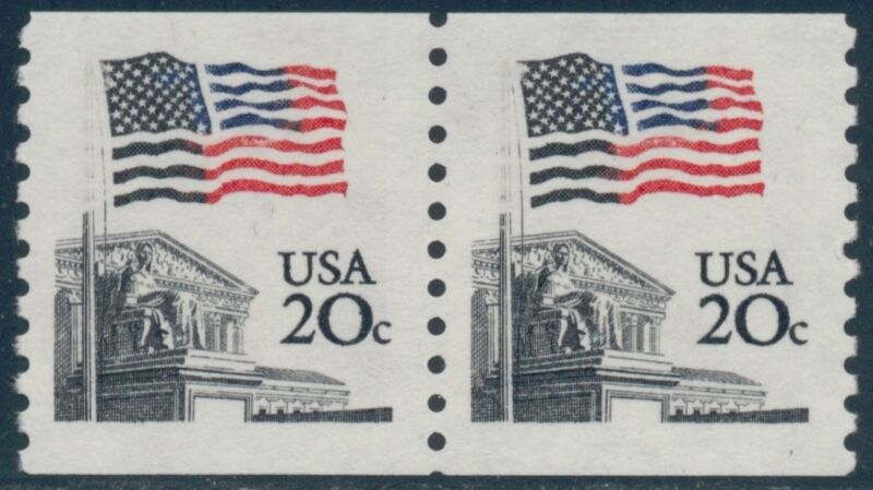 "#1895 Var. 20¢ ""flag"" Coil Pair Blue Color Shifted Major Error Bq8657"